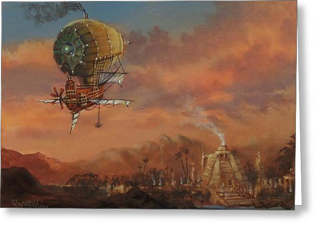 Airship Over Atlantis Steampunk Series Greeting Card by Tom Shropshire