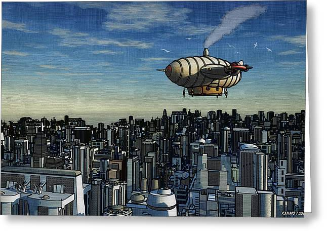 Airship Over Future City Greeting Card