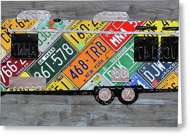 Airstream Camper Trailer Recycled Vintage Road Trip License Plate Art Greeting Card by Design Turnpike
