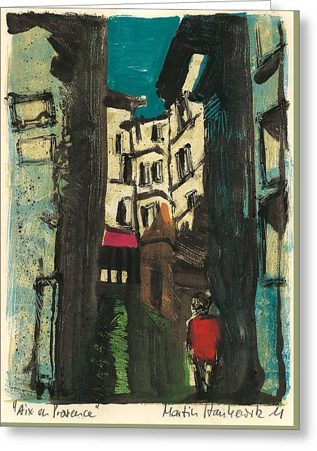 Greeting Card featuring the painting Aix En Provence Street by Martin Stankewitz