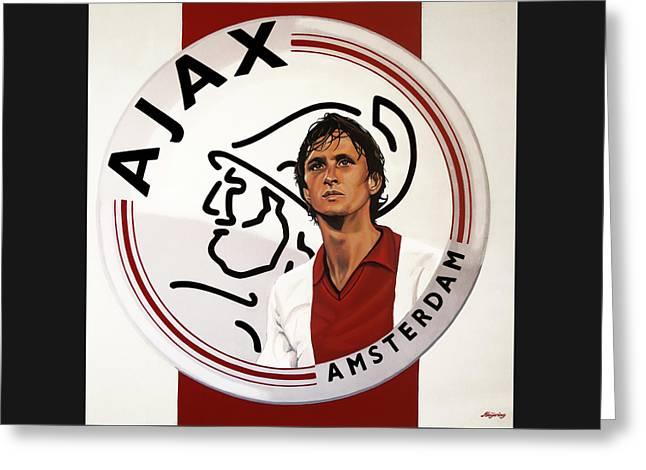 Ajax Amsterdam Painting Greeting Card by Paul Meijering