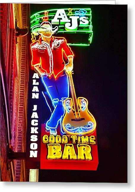 Greeting Card featuring the photograph Aj's Good Time Bar by Lisa Wooten