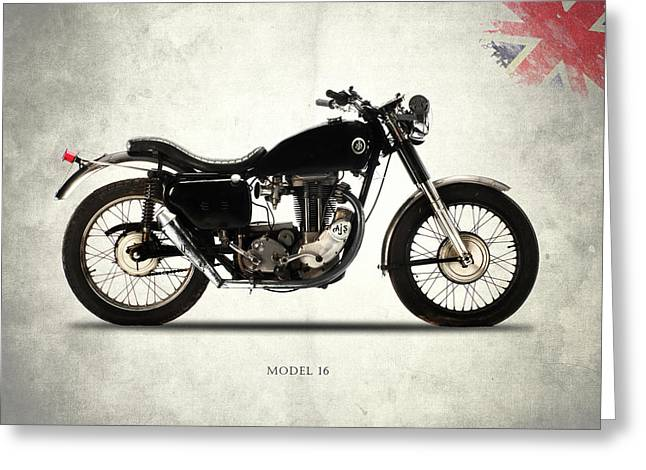 Ajs Model 16 Trials Greeting Card by Mark Rogan