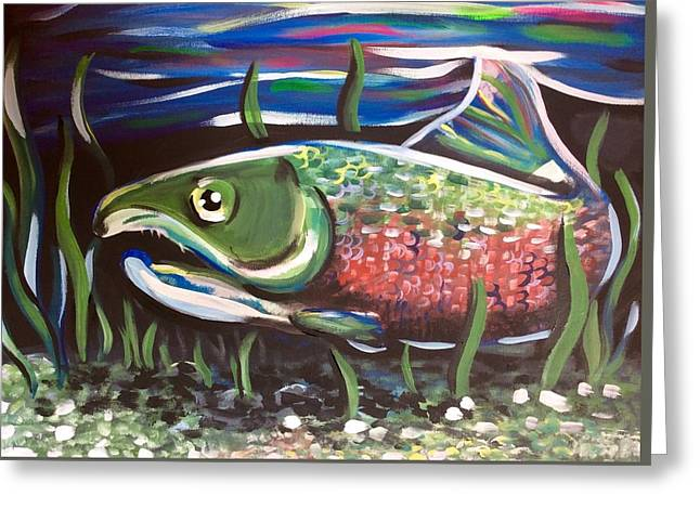 Ak Salmon Greeting Card by Lori Teich