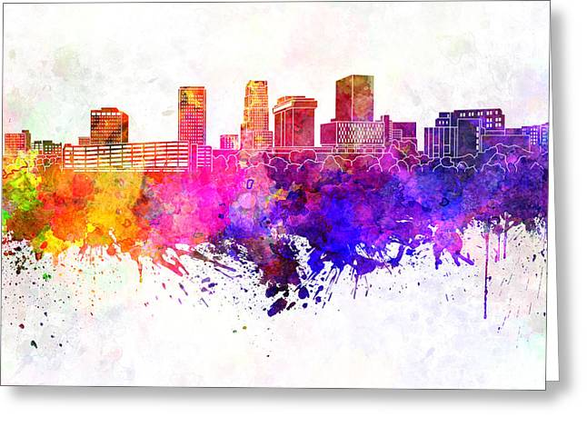 Akron Skyline In Watercolor Background Greeting Card by Pablo Romero