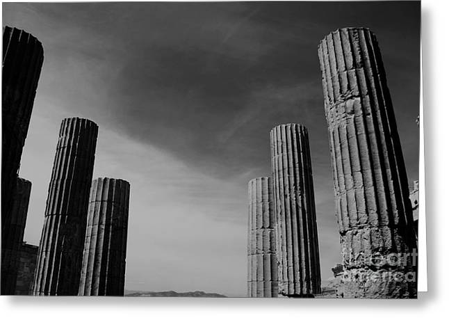Akropolis Columns Black And White Greeting Card