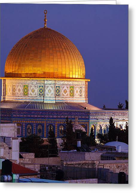 Al-aqsa Mosque At Night Jerusalem Israel Greeting Card by Rostislav Ageev