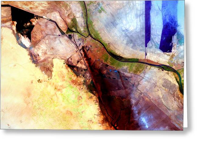 Al Basrah Iraq Watercolor From Landsat Greeting Card by Elaine Plesser