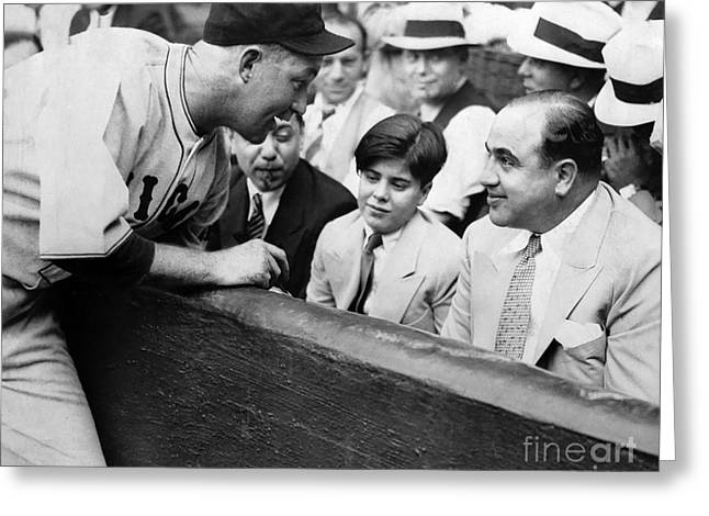 Al Capone At The Cubs Game Greeting Card by Jon Neidert