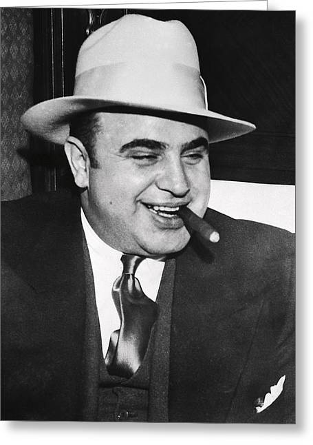 Al Capone Chicago Prohibition Crime Boss Greeting Card by Daniel Hagerman