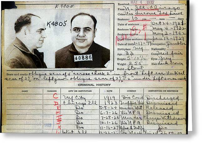 Al Capone Mugshot And Criminal History Greeting Card by Jon Neidert