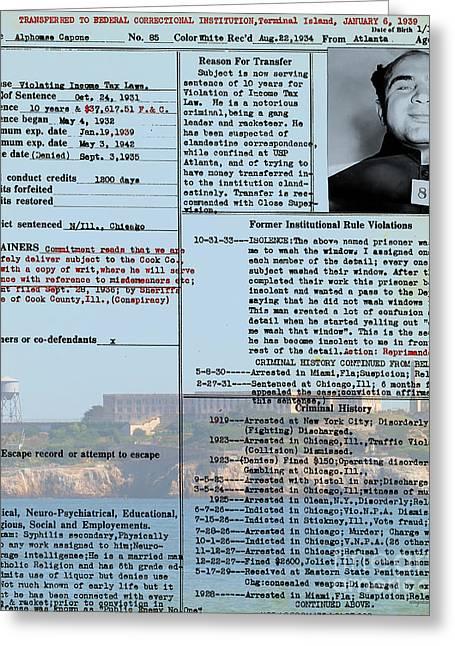 Al Capone Transfer Record Alcatraz Island To Terminal Island 20170518 V2 Greeting Card by Wingsdomain Art and Photography