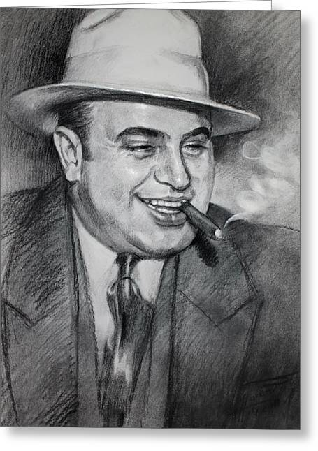 Charcoal Portrait Greeting Cards - Al Capone  Greeting Card by Ylli Haruni