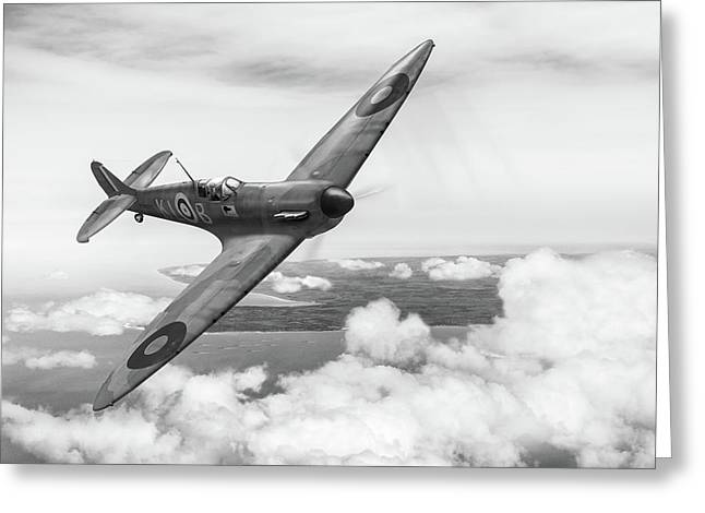 Greeting Card featuring the photograph Al Deere In Kiwi IIi Bw Version by Gary Eason