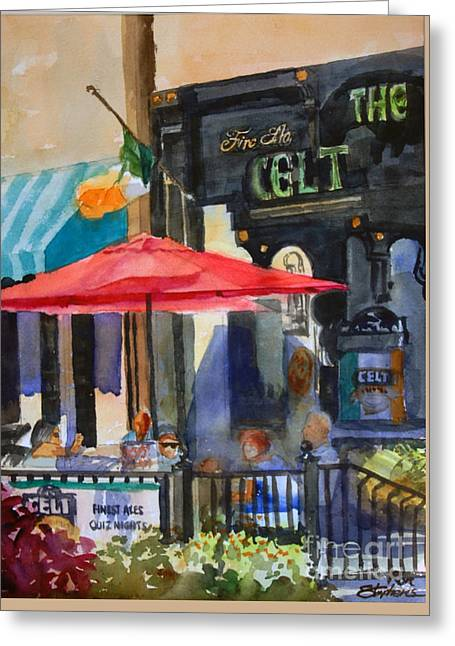 Al Fresco At The Celt Greeting Card by Ron Stephens