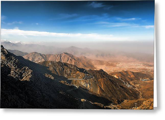Al Hada Road In Taif Greeting Card by Graham Taylor