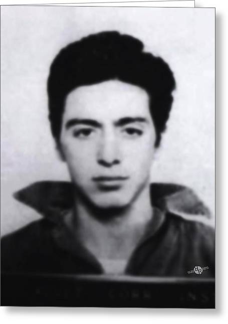 Al Pacino Mug Shot 1961 Black And Blueish  Greeting Card