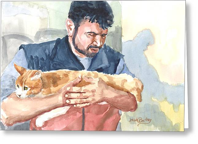 Alaa Rescuing An Injured Cat Greeting Card