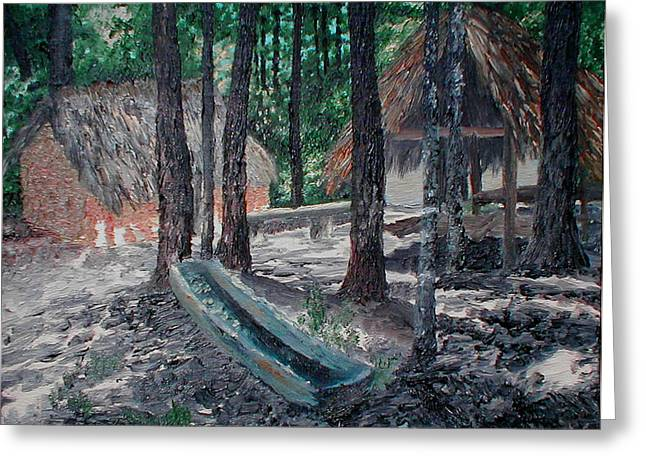 Alabama Creek Indian Village Greeting Card by Beth Parrish