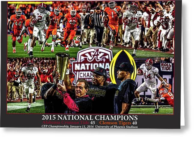Alabama Crimson Tide 1 Dark Gray Background Ncaa 2015 National Champions College Football Greeting Card