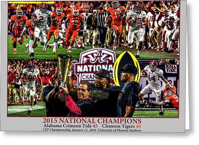 Alabama Crimson Tide 1 Gray Background Ncaa 2015 National Champions College Football Greeting Card by Rich image