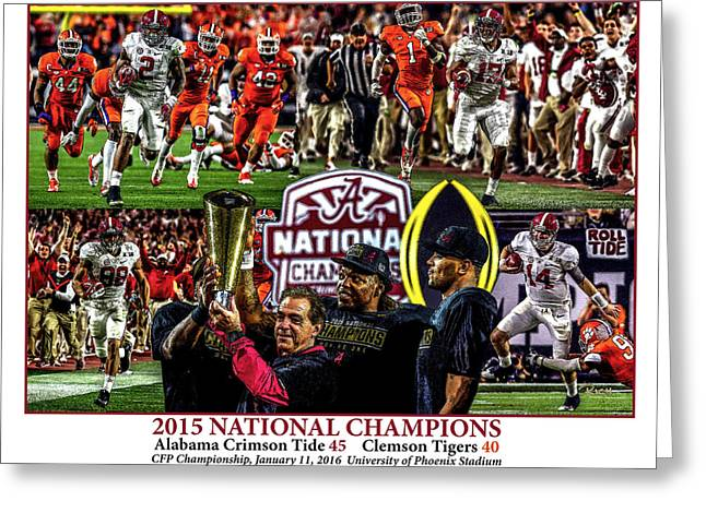Alabama Crimson Tide 1 White Background Ncaa 2015 National Champions College Football Greeting Card by Rich image
