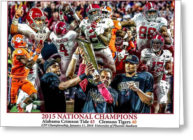 Alabama Crimson Tide 2 White Background Ncaa 2015 National Champions College Football Greeting Card