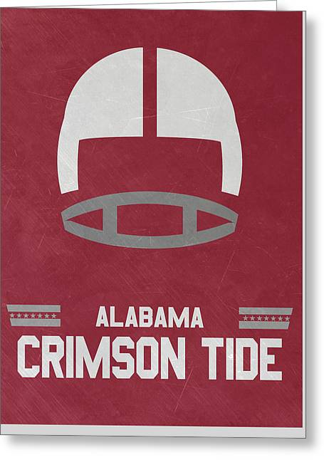 Alabama Crimson Tide Vintage Football Art Greeting Card by Joe Hamilton