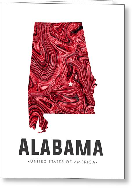 Alabama Map Art Abstract In Red Greeting Card