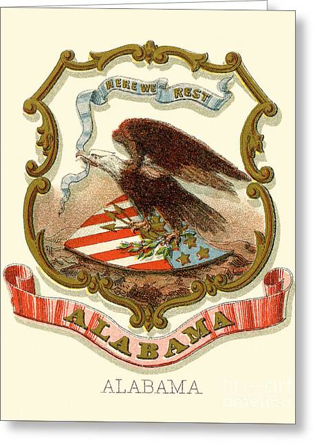 Alabama State Coat Of Arms 1876 Greeting Card by Celestial Images