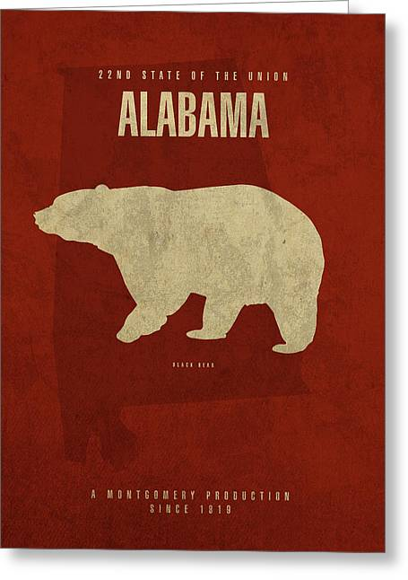Alabama State Facts Minimalist Movie Poster Art Greeting Card by Design Turnpike