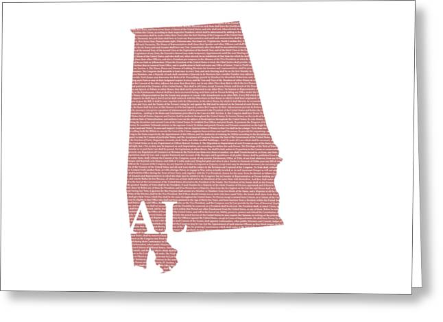 Alabama State Map With Text Of Constitution Greeting Card by Design Turnpike