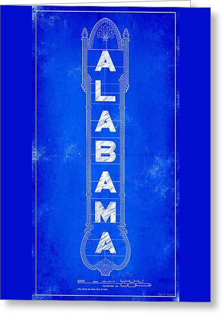 Alabama Theatre Marquee Blueprint Greeting Card