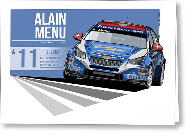 Alain Menu - 2011 Suzuka Greeting Card by Evan DeCiren