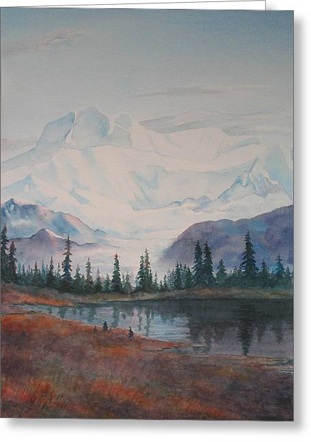 Alaksa Mountain And Lake Greeting Card by Debbie Homewood