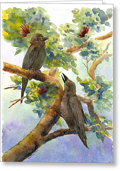 'alala Greeting Card by Wicki Van De Veer