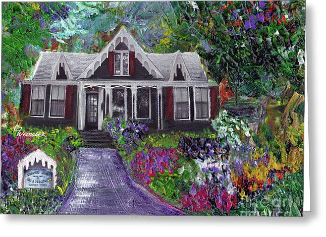 Greeting Card featuring the painting Alameda 1854 Gothic Revival - The Webster House by Linda Weinstock
