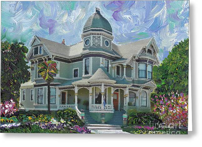 Greeting Card featuring the painting Alameda 1893  Queen Anne  by Linda Weinstock