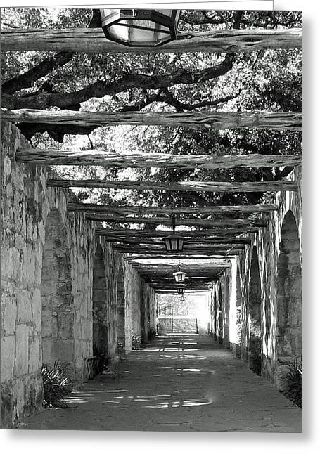 Alamo Corridor Greeting Card by Debbie Karnes
