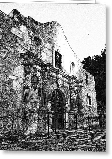 James R Granberry Greeting Cards - Alamo In Sunset Greeting Card by James Granberry