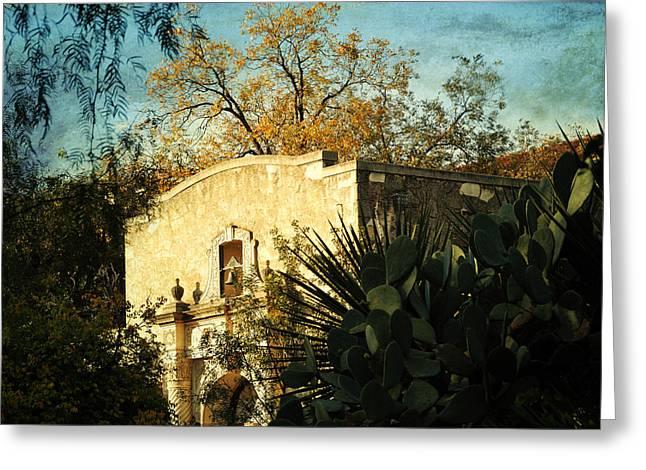 Alamo Mission Greeting Card by Iris Greenwell