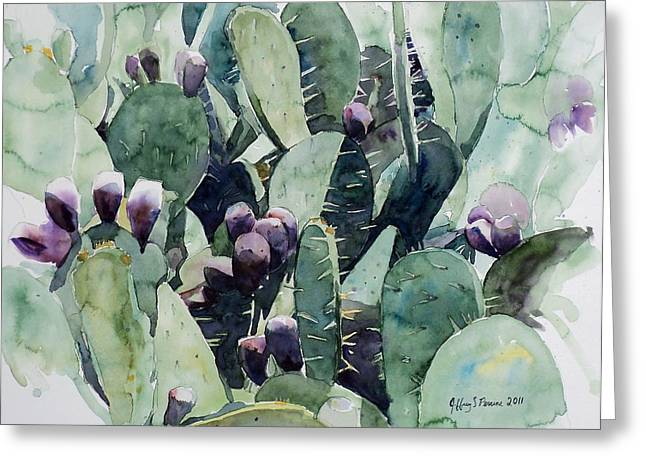 Greeting Card featuring the painting Alamo Prickly Pear by Jeffrey S Perrine
