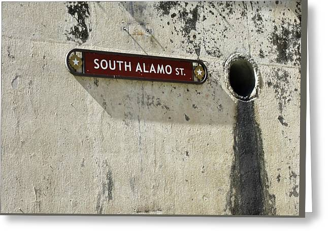 Alamo Riverwalk Sign Large Edition Greeting Card by Tony Grider