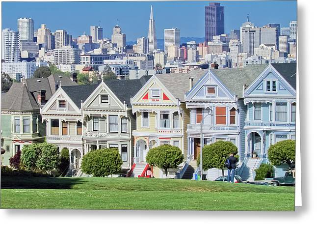 Greeting Card featuring the photograph Alamo Square by Matthew Bamberg
