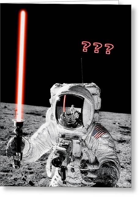 Alan Bean Finds Lightsaber On The Moon Greeting Card