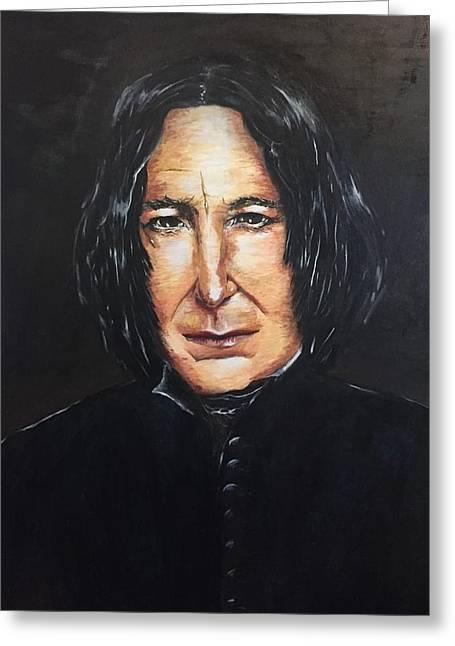 Alan Rckman. Portrait Greeting Card by Maria Mei