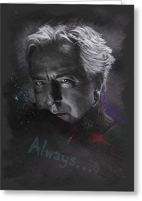 Greeting Card featuring the drawing Alan Rickman by Julia Art