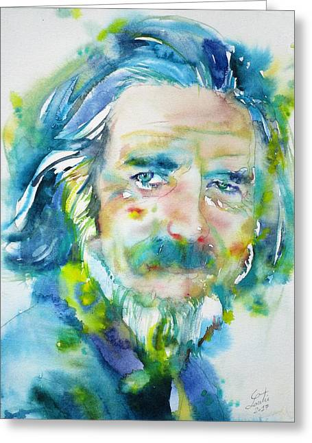 Greeting Card featuring the painting Alan Watts - Watercolor Portrait.4 by Fabrizio Cassetta