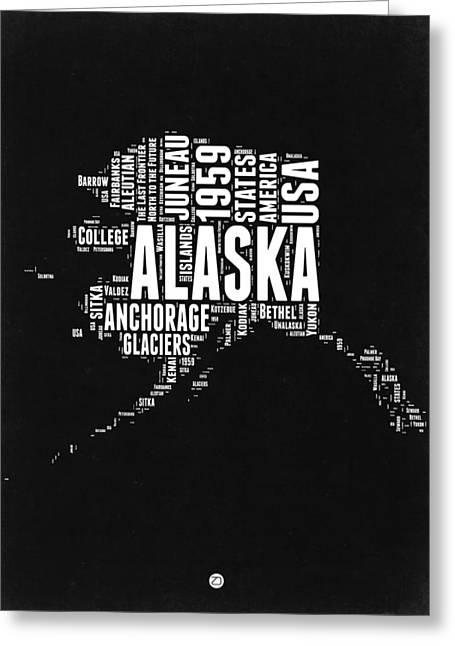 Alaska Black And White Map Greeting Card