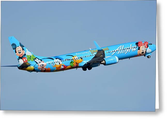Alaska Boeing 737-990 N318as Disneyland Phoenix Sky Harbor January 19 2016 Greeting Card by Brian Lockett